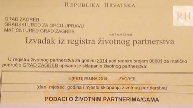 U Hrvatskoj sklopljen prvi istospolni brak
